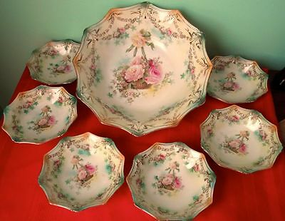 "RS Prussia Antique 10"" Centerpiece and 12 Small Berry Bowls Set 1870-1917"