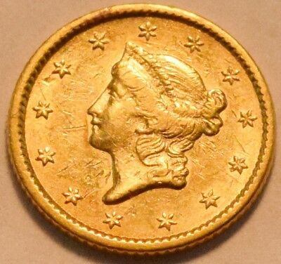 1851 G$1 Type 1 Liberty Coronet One Dollar Gold, Higher Grade, Nice Type Coin