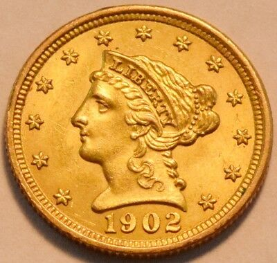 1902 $2.50 Gold Liberty Quarter Eagle High Grade AU/Unc 2 and 1/2 Nice Look Coin