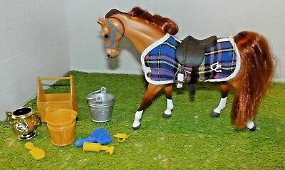 Grand Champion (GC) Toy Horse Figure (Tan and Brown) Saddle Brush More Red Hair