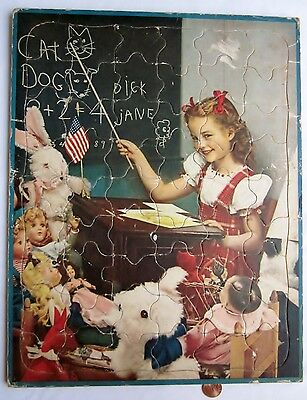 Near antique vintage WALZER PUZZLE: School room for toys 1940's Walzer 1940s/50s