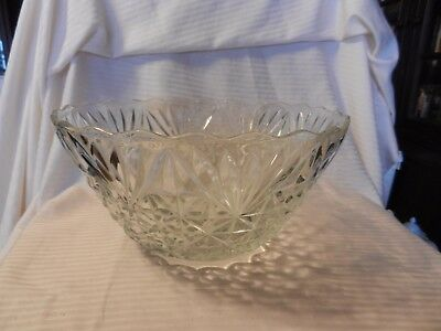 Large American Cut Glass Punch Bowl Clear with Embossed Details Scallop Edges