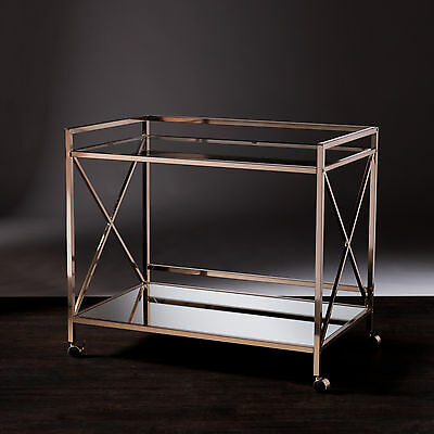 Jbc14502 Metallic Gold Finish Metal / Glass/ Mirror Wine Bar Cart