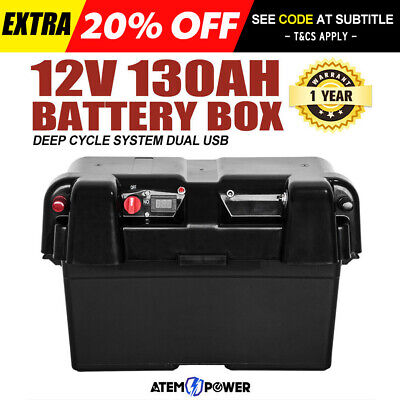 Battery Box AGM Deep Cycle 130AH  Dual System 12V 100AH USB Adpt