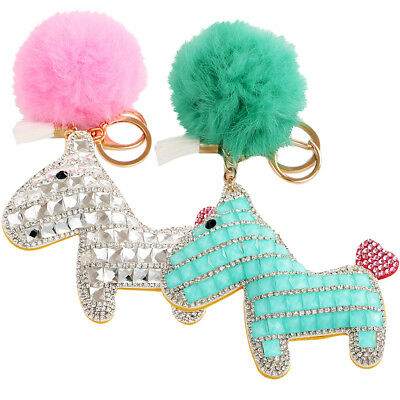 kilofly Faux Fox Fur Keychain Pom Pom Ball Pony Rhinestone Car Key Holder Horse
