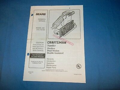 Sears Craftsman 315.116132 Sander Dustles Dual Motion Double Insl. Owners Manual