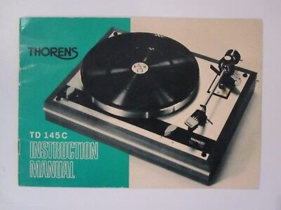 Thorens TD-145C  Turntable Instruction Manual ~ Written in Three Languages
