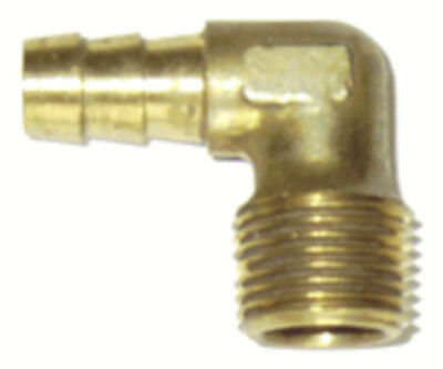 1/4 Brass Hose Barb x 1/8 Male Pipe Thread Elbow (NPT) , 2 Pack, # MPT-90-4-2