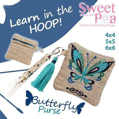 Butterfly Zipper Purse  4x4 5x5 6x6  in the hoop machine embroidery design