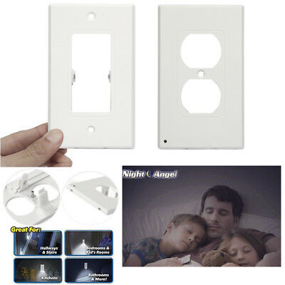 LED Plug Cover plate Night Angel Wall Outlet Face Hallway Coverplate Safty Light