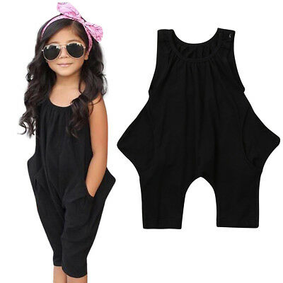 Toddler Baby Kids Girls Solid Sleeveless Rompers Jumpsuit Casual Clothes Outfits