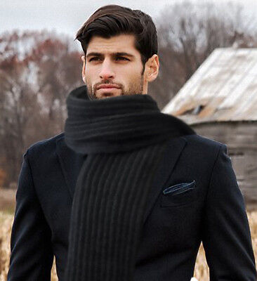 "GIFT MENS WOMENS SCARF KNIT HAND  FOR FALL/WINTER Long70""x9,5"""" black"