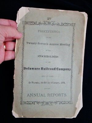 1879 Reports Proceedings 27th Annual Meeting DELAWARE RAILROAD COMPANY, DOVER DE