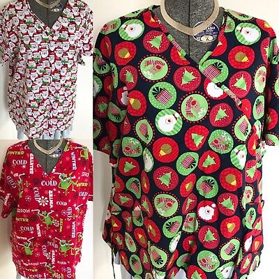 Scrubs Women Uniform Tops Lost Of 3 XXL Disney And Other Brands Christmas Theme