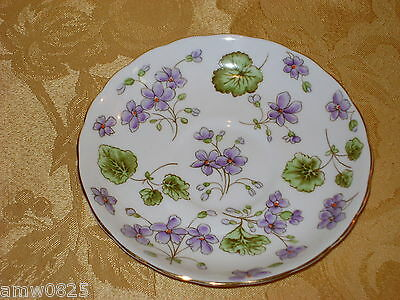 TUSCAN ENGLISH FINE BONE CHINA SAUCER VINTAGE HAND PAINTED VIOLETS C8438 no cup