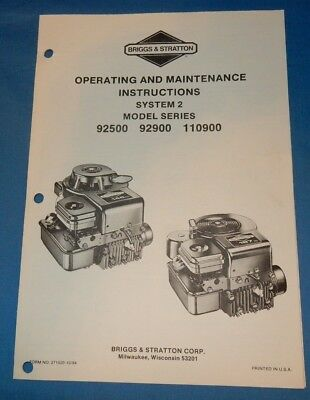 Briggs & Stratton 92500 92900 110900 Engine Operating Maintenance Instructions