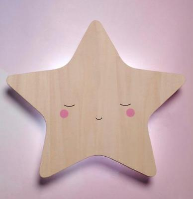 NEW Childrens Wooden Wall Lamp Silhouette Star - Touch Lamp with Timer