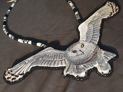 Native American Beadwork Snow Owl Native Beaded Medallion Pow Wow Regalia