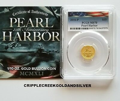 2016-P $15 Pearl Harbor Perth Mint 1/10 oz. .9999 Gold Coin PCGS MS70