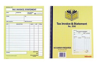 2 X Spirax 500 Tax Invoice & Statement Book Carbonless Duplicate