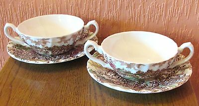 "Pair of Myott Twin-handled Soup Bowls and Saucers in ""Coaching Days"" Design."