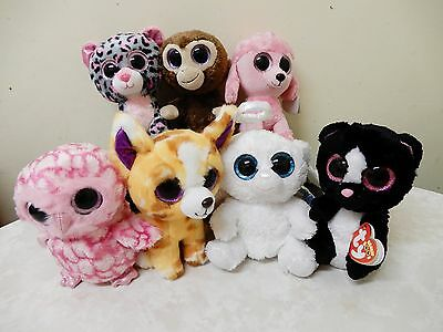 7 Beanie Boos Brand New Poodle/owl/monkey/leopard/skunk/bear/chihuahua Brand New