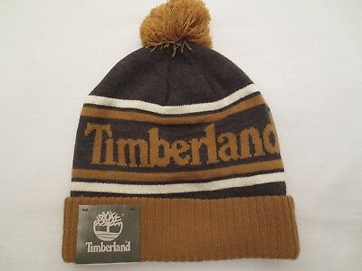 TIMBERLAND COLOR BLOCKED LOGO KNIT WATCH CAP BEANIE WHEAT Winter Hat NWT