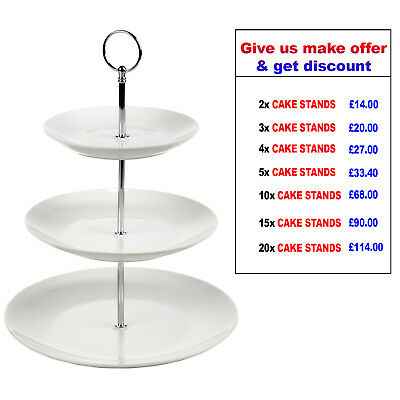 3 Tier Ceramic White Cup Cake stand Porcelain Food Display Cakestand New Platter