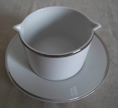 Thomas ~ Wide Platinum Band ~  Sauce Boat With Fixed Saucer