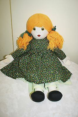 Brand New Huge Handmade/crafted Cloth Rag Doll Green Floral Dress 71 Cm Long