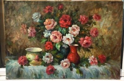 LARGE 1960s FRENCH IMPRESSIONIST OIL PAINTING OF ROSE FLOWERS by Henry Cachard