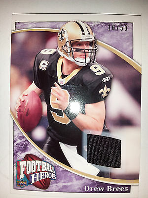 Nfl Drew Brees Ud Football Heroes 2009 Jersey /50 New Orleans Saints