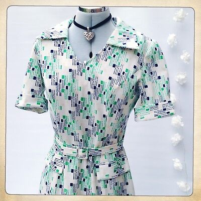 S10/12 Vintage 1970s Shirt Dress French PAUL MAUSNER Belted Collared Geo Print