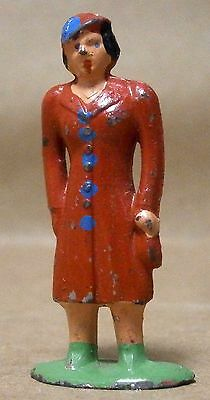 Die Cast Metal Standing Lady in a Red Coat & Hat with Blue Trim Figure-GUC