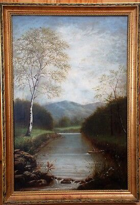 Large signed 19th century oil painting of river and mountain.