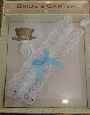 Brides White Lace and Blue Bow Garter in Cute Presentation Box
