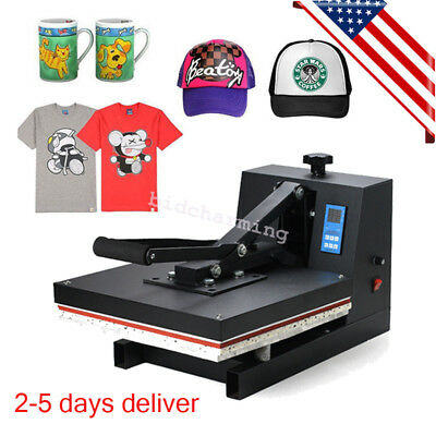 "USA Heat Press Transfer Digital Clamshell 15""x15"" T-Shirt Sublimation Machine A"