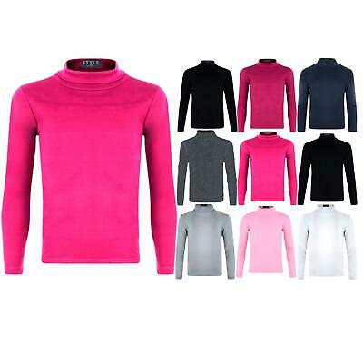 Kids Turtleneck Long Sleeve Plain Basic Top Girls Boys Jersey Polo Tops 2-14 Y