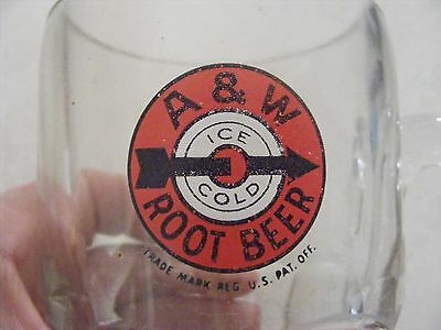 "Vintage A&W Draft Root Beer Glass Logo Mug - Heavy - Ice Cold Soda 6"" Tall"