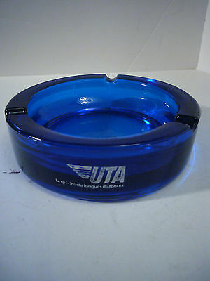 VIntage UTA Blue Glass Ahstray French Airline Union Des Transports Aeriens