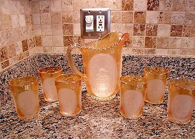 Vintage  Imperial Carnival Glass  Windmill Frosted Panel  7 Pc Pitcher Set