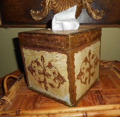 Antique Italian Florentine Wood Tole Tissue Holder Mid Century Hollywood Regency