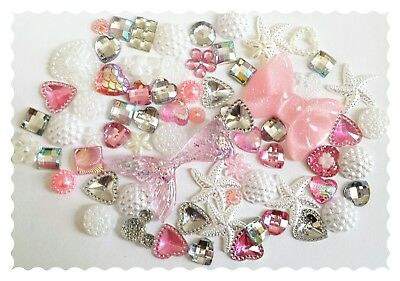 Mermaid tail Diy Decoden kit. Pink glitter tail. Embellishment-Cabochons.
