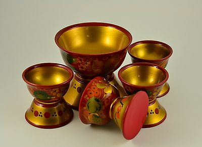 VINTAGE SOVIET RUSSIAN FOLK ART KHOKHLOMA HAND PAINTED laquered WOODEN SET