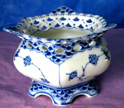 Royal Copenhagen Porcelain BLUE FLUTED FULL LACE Open Sugar Bowl