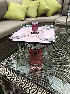 PINK GIN Glass Holder holds 4 glasses and bottle  Get Shitfaced
