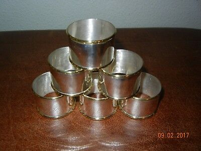 6 Vintage .925 sterling silver NAPKIN RINGS Taxco TE-51 Set of Six