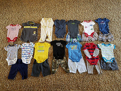 Lot 23 Baby Boy Clothes 6 Months Fall Winter Shirts Pants Outfits Bodysuits