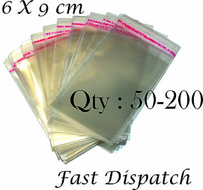 50 - 200 Cellophane Bags 6 X 9 cm Clear Cello Display Self Adhesive Peel & Seal