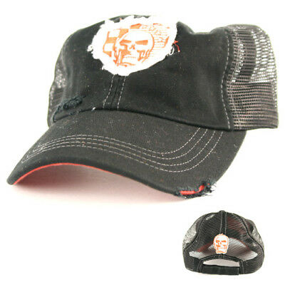 Skull Patch Mesh Baseball Cap, EZ Riderz Distressed Style, Adult, Unisex